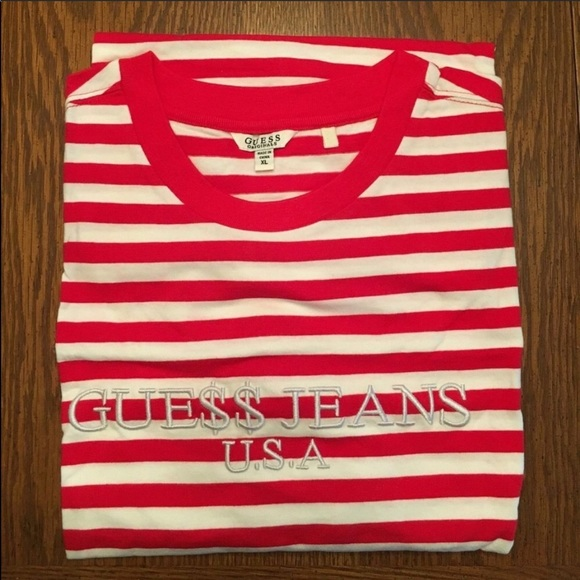 94a62c29 Guess Shirts | X Asap Rocky Limited Edition Red Striped T | Poshmark